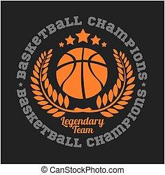 championnat, ensemble, basket-ball, conception, logo, éléments