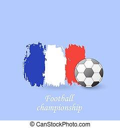championnat, football, drapeau, balle, france., vecteur, illustration, football