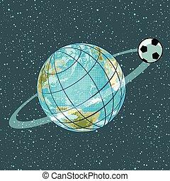 championnat, football, planète, balle, la terre, football