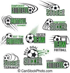 championnat, icônes, boule football, vecteur, football