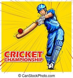 championnat, sports, jouant cricket, batteur