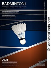 championnat, vecteur, illustration, badminton, affiche