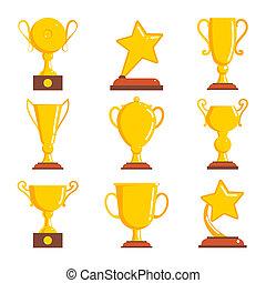 Champions awards winner icons. Vector illustration.