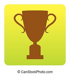 Champions Cup sign. Vector. Brown icon at green-yellow gradient square with rounded corners on white background. Isolated.