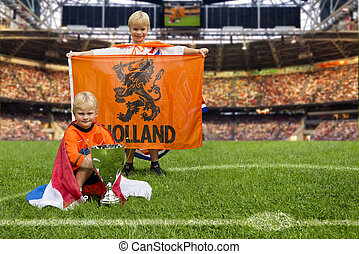 Champions - Two young boys in the middle of a huge stadium...
