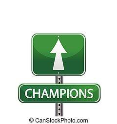 Champions street sign illustration