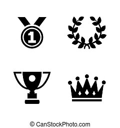 Champions trophy. Simple Related Vector Icons