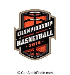 Championship basketball, sports logo emblem.