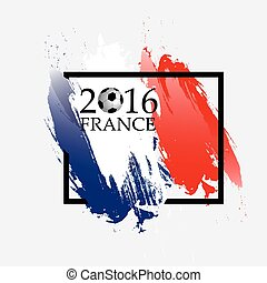 championship., formulaire, cadre, football, isolé, france française, arrière-plan., drapeau, vecteur, illustration, blanc, 2016, euro