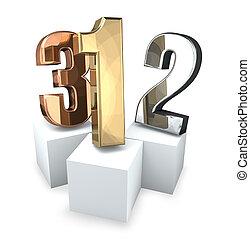 championship golden silver bronze podium 3d rendering