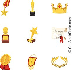 Championship icons set, cartoon style