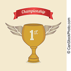 championship label over pink background vector illustration
