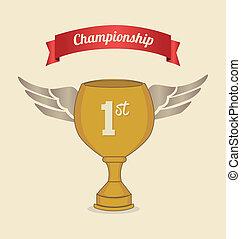 championship label over pink background vector illustration