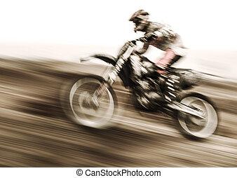 Championship of motocross, side view of sportsmen driving...