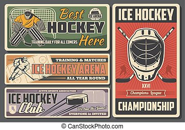 Championship on ice hockey, player, stick and puck
