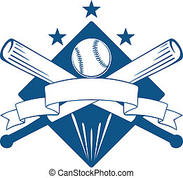 Championship or league baseball emblem with a blank wavy ribbon banner with copyspace over crossed bats and a ball superimposed on a diamond with stars, blue and white