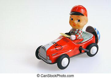 Clockwork tin toy car, with driver.