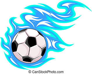 Championship soccer ball or football leaving a blue trail as...