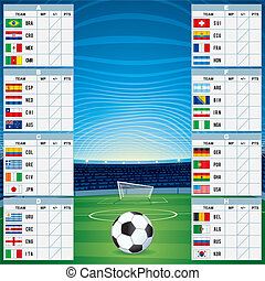 Table with Qualified Teams. Vector Template