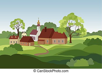 champs, campagne, countryhouse., collines, arbres, rural, skyline., paysage