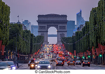 Champs Elysees and the Arc de Triomphe at Dusk
