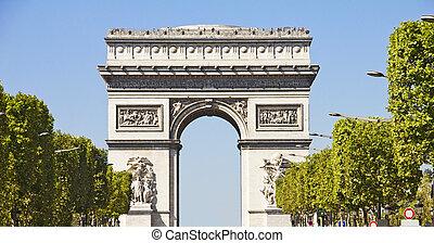 Champs-elysees and the Arc du Triomphe, Paris