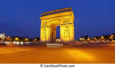 """champs elysees at night, paris, france, timelapse, zoom out, 4k"""
