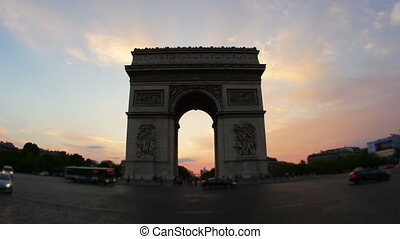 """champs elysees at sunset, paris, france, timelapse, 4k"""