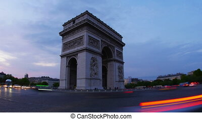 """champs elysees at sunset, paris, france, timelapse, zoom..."