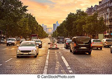Champs Elysees avenue in Paris France