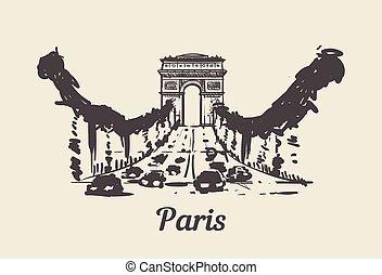 Champs Elysees Paris hand drawn sketch vector illustration.