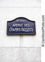 Champs Elysees - Paris, France - Champs Elysees street sign....