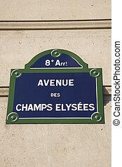 Champs Elysees Street Sign, Paris, France