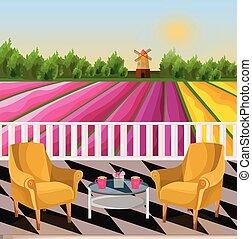 champs fleur, deux, terrasse, fond, fauteuils, rural, vue., moulin