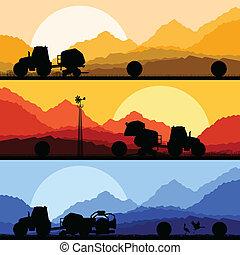 champs, illustration, tracteurs, foin emballotte, vecteur, ...