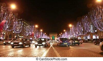 champs-,  lys,  es, spostare, strada, notte, automobili