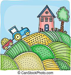 champs, maison, illustration, colline, agricole, tracteur