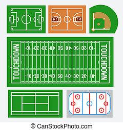 champs, tennis, base-ball, américain, vecteur, hockey, basket-ball, sport, football, set:, football