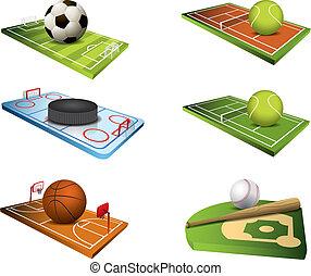 champs, vecteur, sport, icônes