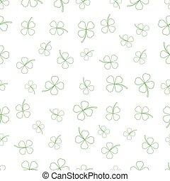chamrock, trèfle, naturel, feuilles, texture., dessin animé
