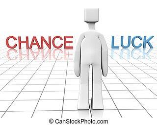chance, glück, machen, oder, entscheidung, begriff