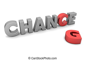 glossy grey word CHANCE with the red letter C and a laying red letter G