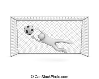 Chance to score in soccer - 3d isolated on white background...