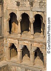 Chand Baori Stepwell in Jaipur, Rajasthan, India.