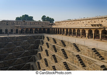 Chand Baori Stepwell in the village of Abhaneri, Jaipur, Rajasthan, India.