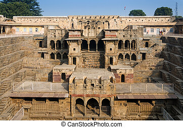 Chand Baori Stepwell in the village of Abhaneri, Rajasthan, India.