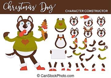 chandail, chien, glace, tricoté, constructeur, husky, crème