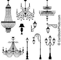 Chandelier and vintage lamp set