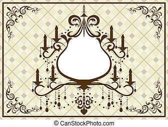 Chandelier brown frame - Illustration vector
