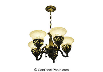 Chandelier ceiling on white background